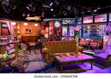 movie set of Friends film inside Warner Bros Studio, Los Angeles, march, 2017