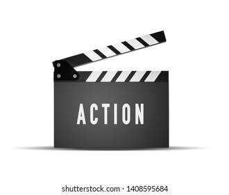 Movie slapstick on white background, Action inscription on flapper