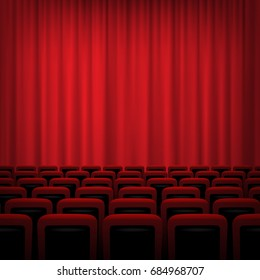 Movie theater background with red curtains and chairs. Raster copy.