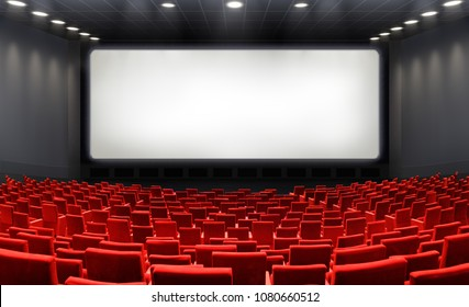 Movie Theater With Blank Screen And Red Seats - Cinema - Contain 3d Illustration