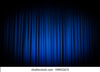 Movie Theater Curtains blue with spotlight