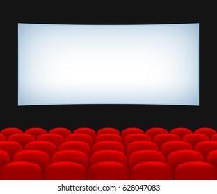 Movie Theater Hall. Rows of Red Seats and a Screen. EPS version is available as ID: 574480501.