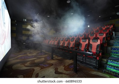 Movie Theater interior, with empty seats and projector / High contrast image