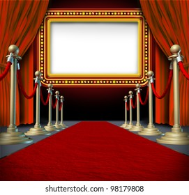 Movie and theater marquee blank sign with elegant velvet curtains and a red carpet with gold barriers roped off and a billboard in lights as an icon of entertainment and important show announcement.