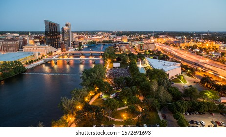 Movies on the Grand River in Grand Rapids, Michigan at night