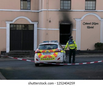 Moville, County Donegal December 2018. Garda at the scene of an overnight fire at a hotel Caiseal Mara in Moville,County Donegal Ireland which was to house 100 asylum seekers. Arson is suspected