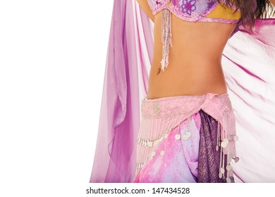 Moving body of the woman dancing belly dance isolated on white background