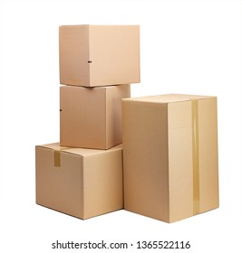 moving boxes in front of a white background
