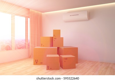 Moving boxes at a new home. 3D Illustration