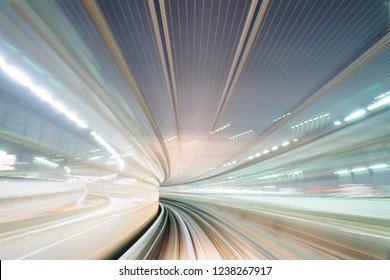 Moving bright light train tunnel in exciting experience