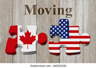 Moving from Canada to the USA, Two puzzle pieces with the flags of USA and Canada on weathered wood with text Moving 3D Illustration