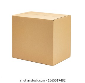 moving carton in front of white background