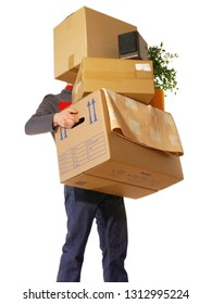 Moving Concept - Man holding Boxes