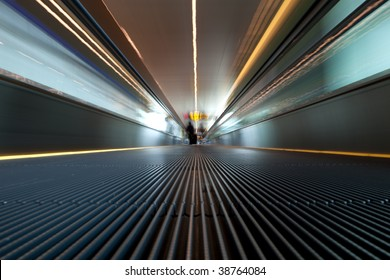 moving escalator at modern building