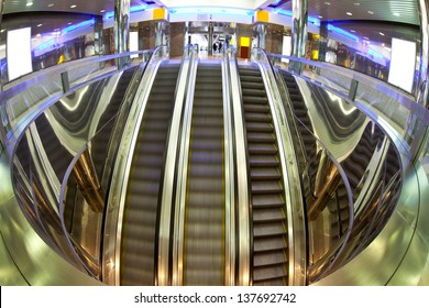 moving escalator in modern interior
