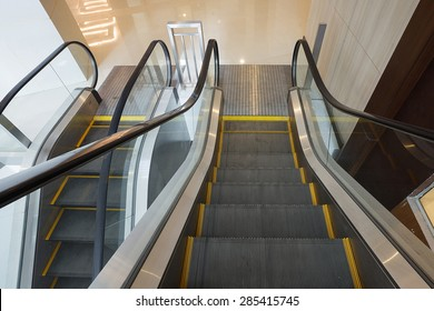 Moving escalator in shopping mall