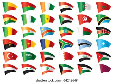 Moving flags set - Africa & Middle East. 36  flags. . JPEG version.