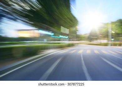 moving forward motion blur background,morning scene