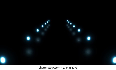 Moving futuristic tunnel with neon lights, takeoff runway, the way. pulsating neon lights with reflection