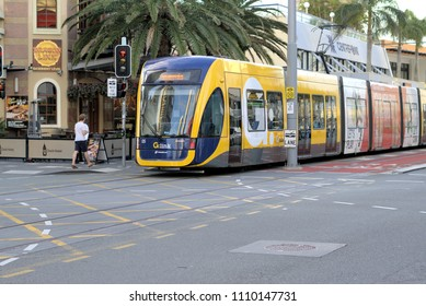 Moving Glink Tram or Gold Coast Light Rail, Gold Coast Australia as on 9 June 2018. Trams built by Bombardier and operated by Translink and Keolis Downer. Illustrative editorial only.