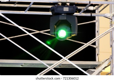 Moving Head Lighting Equipment on Scaffolding Frame in Event