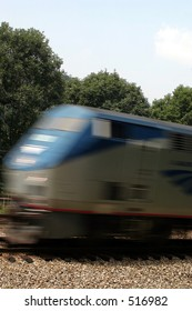 A moving passanger train.