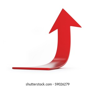 moving red arrow isolated on a white background