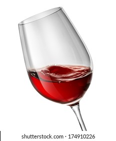 Moving red wine glass over a white background