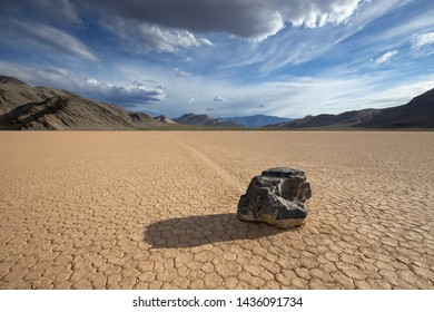 Moving rock on Racetrack Playa, Death Valley National Park, CA