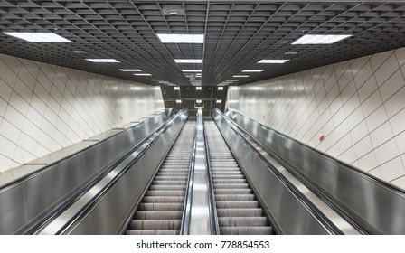 Moving stairs in underground.Escalator stairs in metro station.