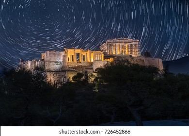 Moving stars over Acropolis of Athens