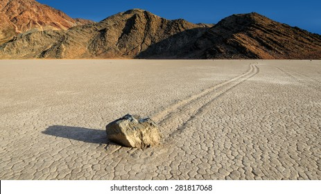 Moving stone on the the Racetrack in Death Valley