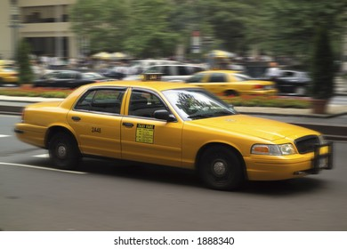 Moving Taxi Cab