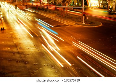 Moving traffic and car lights in the evening