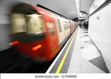 Moving train, motion blurred, London Underground