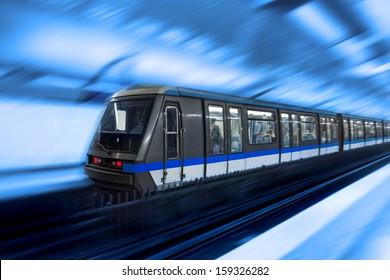 Moving train, motion blurred, Paris Underground. France