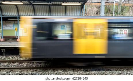 Moving Train A Seaburn Station Sunderland England