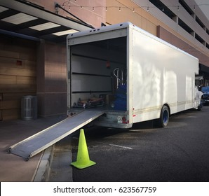 Moving truck with ramp down ready to load