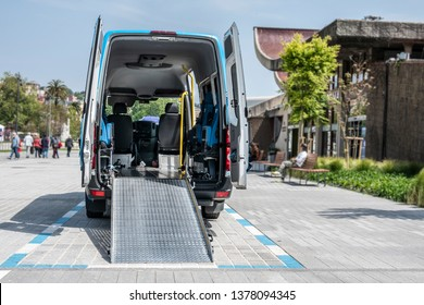 moving van with ramp for the transport of disabled people  or van to transport disabled people or mobility van for disabled people or van for handicapped people