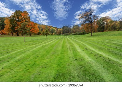 Mowed tracks and cloudscapes  with colorful trees in the park