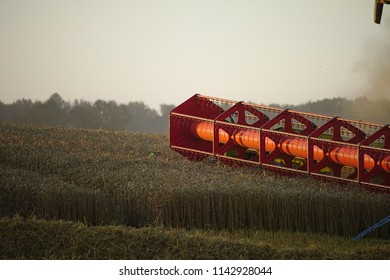 Mower from a combine harvester in action on a grain field