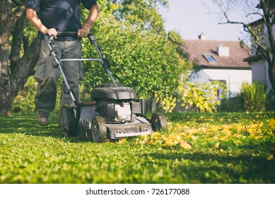 Mowing the grass with a lawn mower in early autumn. Gardener cuts the lawn in the garden.