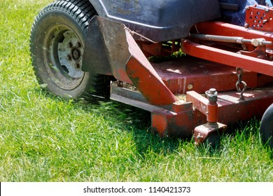 Mowing lawns, Lawn mower on green grass, mower grass equipment, mowing gardener care work tool,