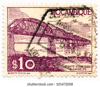 MOZAMBIQUE - CIRCA 1948: A stamp printed in Mozambique, shows a Bridge over the Zambezi, circa 1948