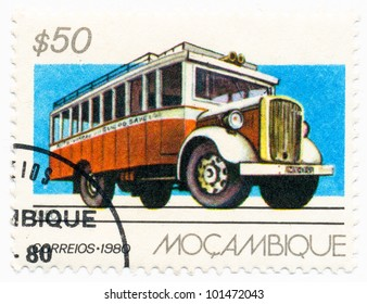 MOZAMBIQUE - CIRCA 1980: A stamp printed in Mozambique, shows a Ford Hercules, 1950, series Public Transportation, circa 1980