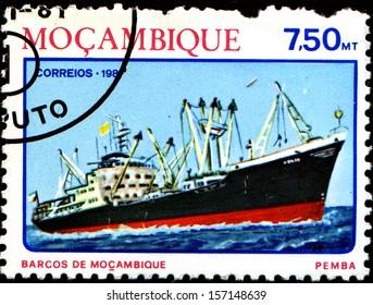 MOZAMBIQUE - CIRCA 1981: A stamp printed in Mozambique, shows a Ocean freighter Pemba, series, circa 1981