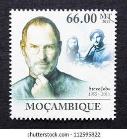 MOZAMBIQUE - CIRCA 2011: a postage stamp printed in Mozambique showing an image of Steve Jobs, circa 2011.