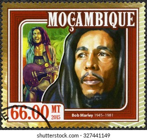 MOZAMBIQUE - CIRCA 2015: A stamp printed in Mozambique shows portrait of Robert Nesta Bob Marley (1945-1981), circa 2015