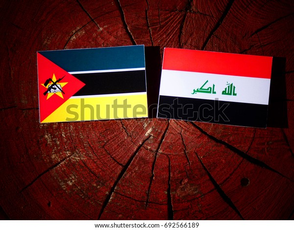 Mozambique flag with Iraqi flag on a tree stump isolated