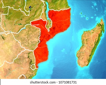 Mozambique highlighted in red from Earth's orbit. 3D illustration. Elements of this image furnished by NASA.